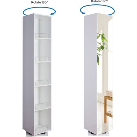 Benley 1800mm White Gloss Freestanding Tall Storage Unit With Mirror