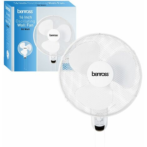 Benross 43820 16 inch 3-Speed Wall Mounted Fan Oscillating and Tilting Head Pull Cord, 50W, White, 50 W