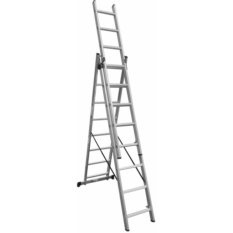 Image of 3 Section 3 Way Combination Ladder 3x8 Rung Aluminium - Charles Bentley