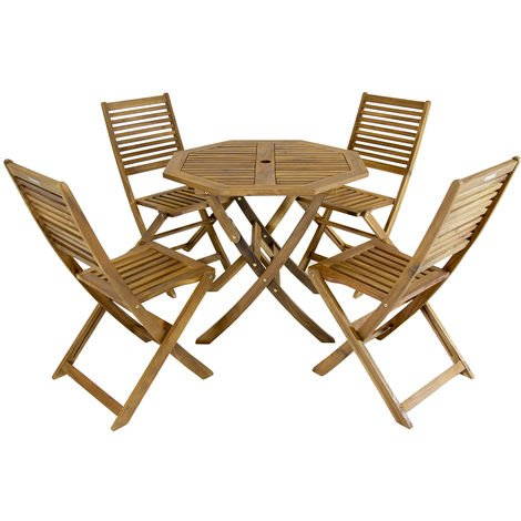 Bentley - Ensemble table octogonale + 4 chaises - bois dur certifié ...