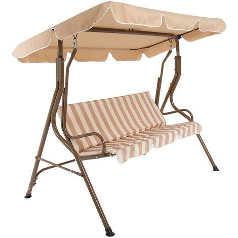 Charles Bentley 2-3 Seater Garden Patio Swing Seat Hammock Chair - Beige Striped