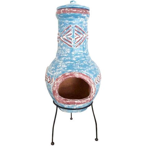 Bentley Garden Large Aztec Clay Chiminea Outdoor Patio Heater Burner - Blue