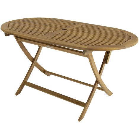 Bentley Garden - Mesa de madera ovalada plegable para jardín