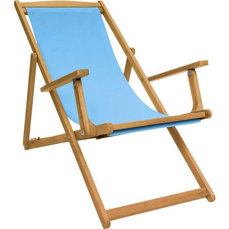 Bentley Garden - Silla de playa plegable de madera - Tela color crema