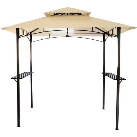 Bentley - Pavillon de jardin - idéal pour barbecue - beige - 2,4 m x 1,5 m