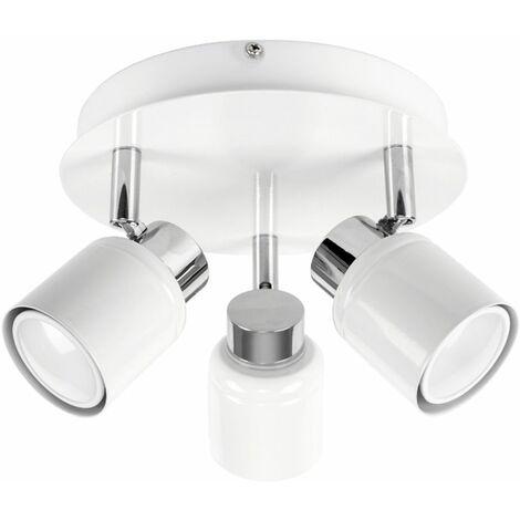 Benton Adjustable 3 Way Round Plate Bathroom Ceiling Spotlight - IP44 Rated + GU10 LED Light Bulbs - White & Chrome - White