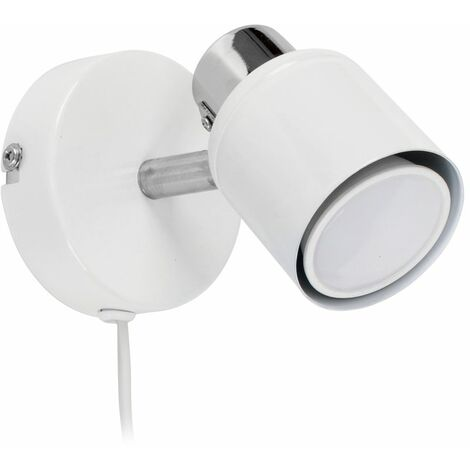Benton Adjustable Ceiling Wall Spotlight with Plug, Cable & Switch + GU10 LED Bulb