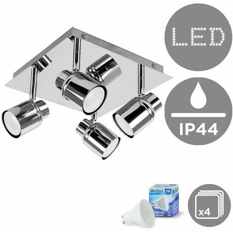 Benton Square Plate Adjustable IP44 Bathroom 4 Way Ceiling Spotlight + GU10 LED Bulbs - Cool White - Silver
