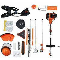 Benzin Multi-Tool, Multifunktions Gartenwerkzeug, Orange, 5 in 1, Hubraum: 52 cm³