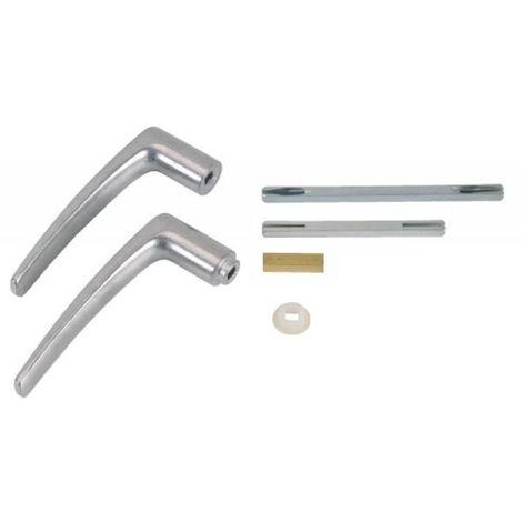 Béquille double 1 entrée aluminium multipose pour carré 6 ou 7 mm finition aluminium poli