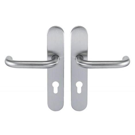 Béquille double inox sur plaque Ligne 19 type U clé I