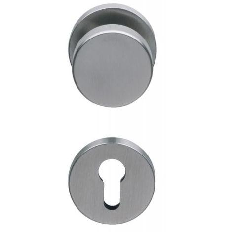 Béquille inox et bouton fixe pour porte palière