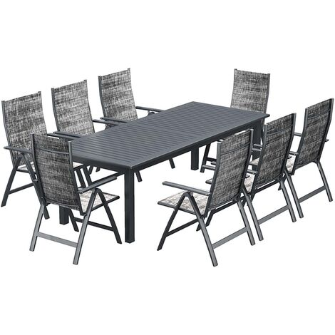 Berana 8 : table de jardin extensible 10 personnes + 8 chaises en aluminium