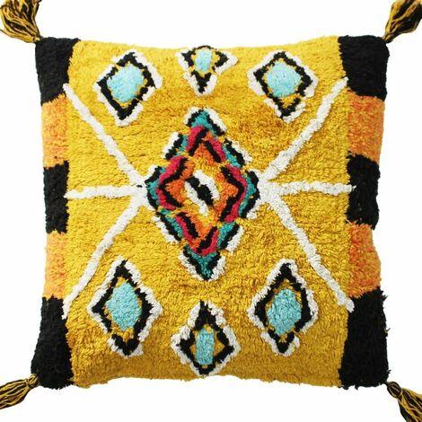 BERBERE COLOR - <p>Coussin 100 % coton esprit berbère jaune 70x70</p> - Jaune