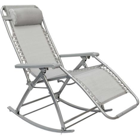 Berceuse Chaise longue berçante de AMANKA | Transat à bascule de jardin | Rocking chair pliable et inclinable | avec repose-pieds et dossier réglable | en acier env 178x70cm | poids supporté max 100 kg | Gris
