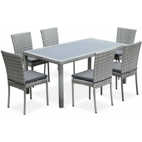 b0304c299404 Bergamo: 6-seater rattan garden set with designer table, mixed grey ...