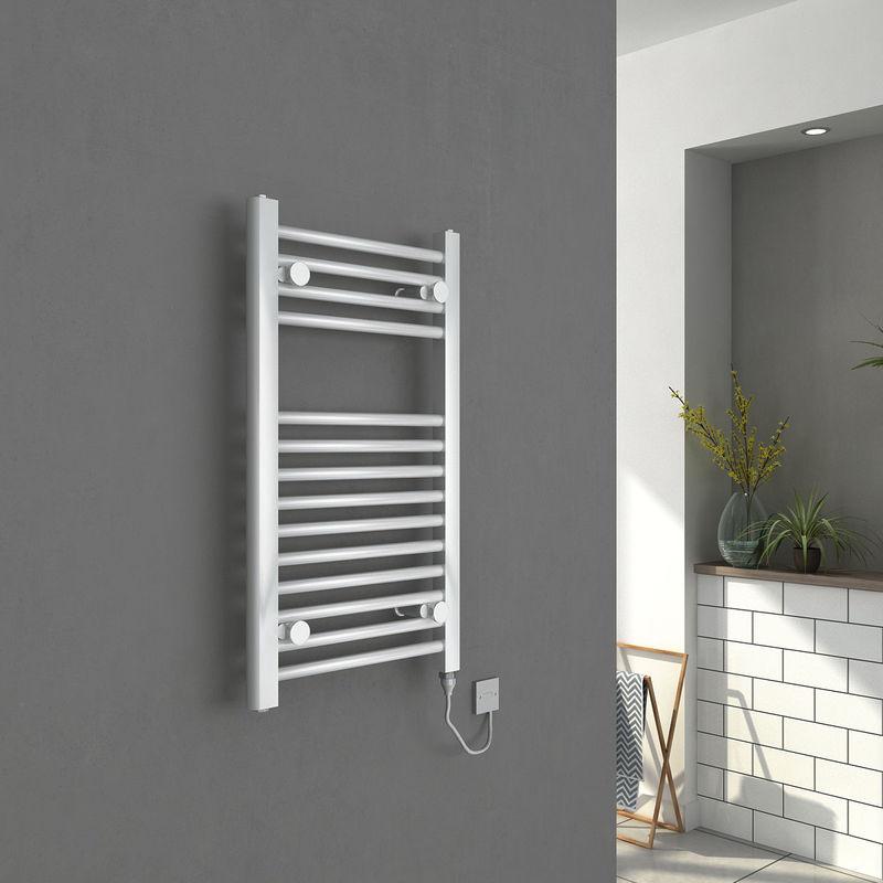 Tradesman Straight Chrome Heated Towel Rail Warmer: Bergen Straight Chrome Electric Heated Towel Rail