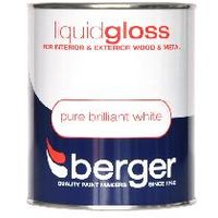 Berger Brilliant White Liquid Gloss Paint 1.25L Litre Fast Postage