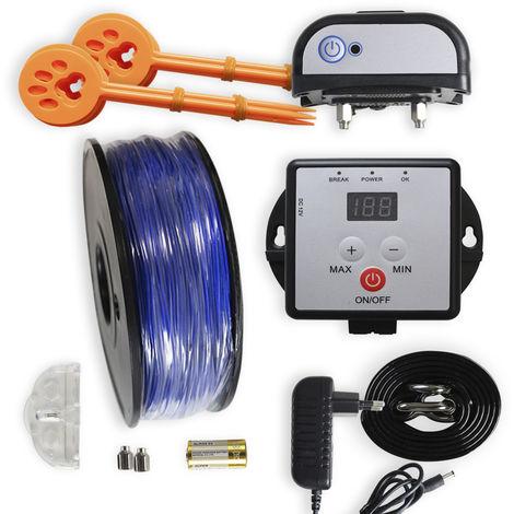 Berger électrique pour chiens Yatek, avec 200 mètres de câble de 1.5mm, collier rechargeable, couvre jusqu'à 2500 mètres carrés.