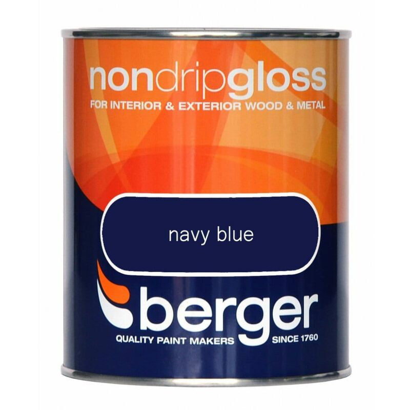 Image of Berger Non Drip Gloss 750ml Navy Blue