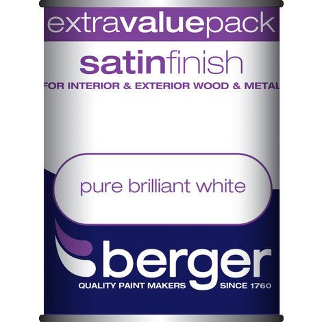 Berger Satin Easy Sheen Brilliant White Paint 750ML / 1.25 Litre / 2.5 Litre