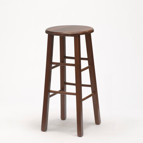 BERLIN High Solid Wooden Round Stool For Café And Kitchen