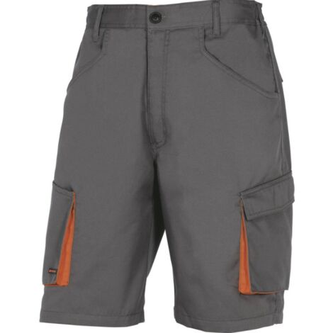 BERMUDA DE TRAVAIL DELTA PLUS MACH2 EN POLYESTER / COTON GRIS ORANGE- M2BE2GR0