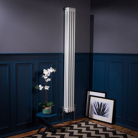 Bern 1800 x 200mm White Triple Vertical Column Radiator