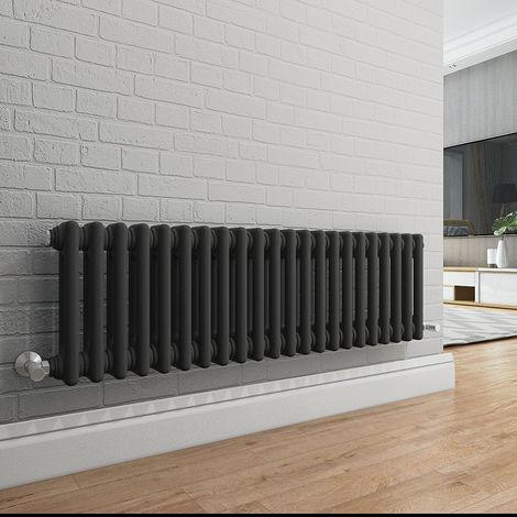 Bern 315 x 1010mm Anthracite Double Horizontal Column Radiator