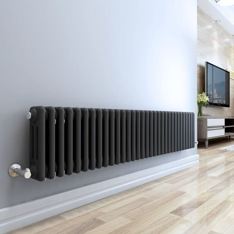 Bern 315 x 1460mm Anthracite Double Horizontal Column Radiator