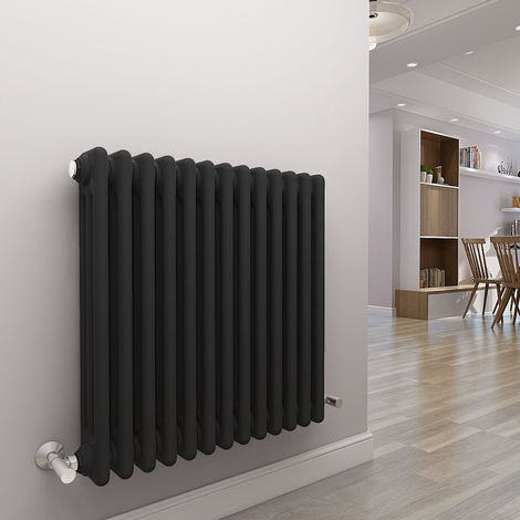 Bern 600 x 605mm Anthracite Triple Horizontal Column Radiator