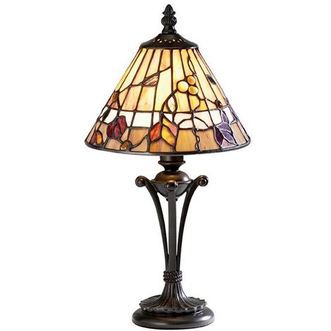 Bernwood Tiffany Small Table Lamp With Glass Shade 40W