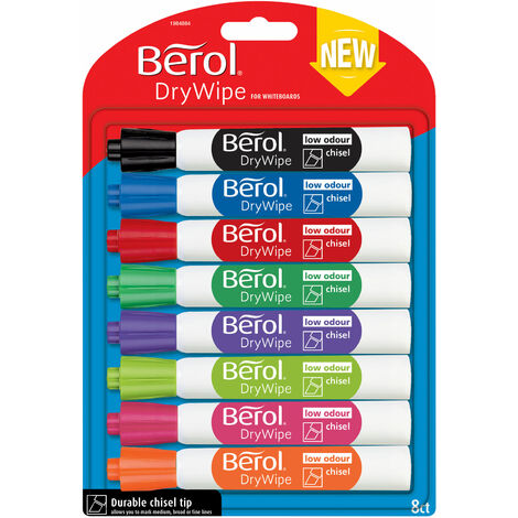 Berol 1984884 Dry Wipe Marker Chisel - Pack of 8 Assorted