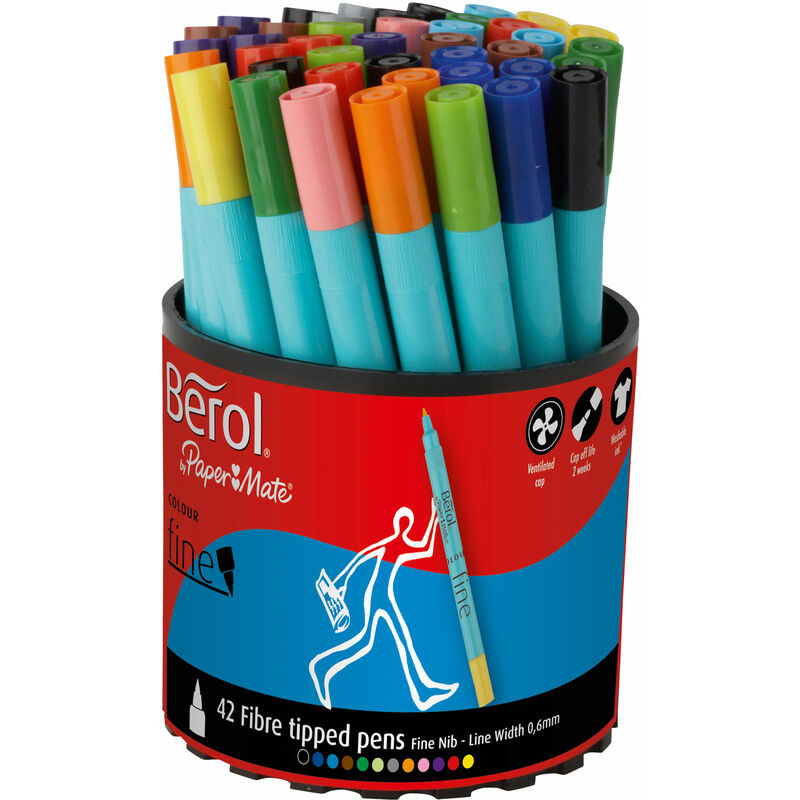 Image of Berol by Paper Mate Assorted Colours Fibre Tip Pens Pack of 42