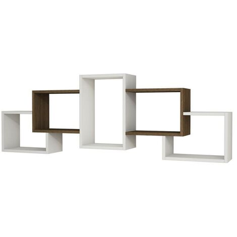 Berril Floating Wall Shelf - for Living Room - White, Wenge, made in Wood, 164 x 20 x 55 cm