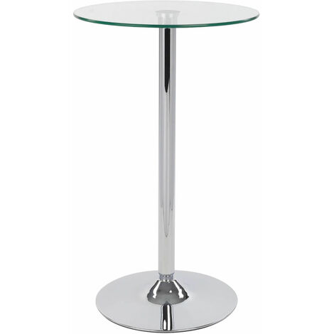 Bert Table Tall Clear Round Glass Bistro Kitchen Bar Table