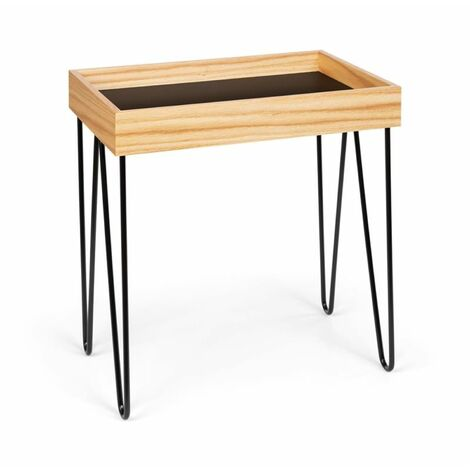 Besoa Little Lyon Coffee Table Melamine/MDF with Oak Veneer Steel Frame black