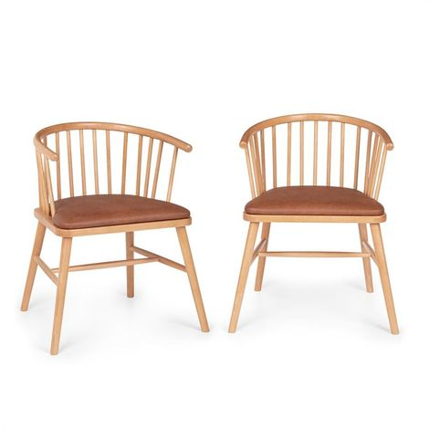 Besoa Nyssa Dining Chair Pair Beech Wood Seat Cushion Made of Brown Leatherette