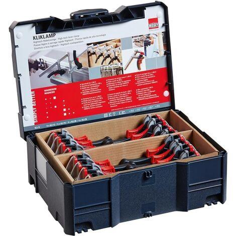 Bessey KLI-S KliKlamp - Presses légères à serage rapide Hightech - 16 pièces dans Coffre systainer T-Loc