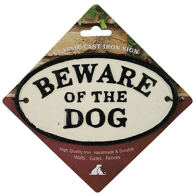 Image of Beware Of The Dog Cast Iron Sign (16 x 9.5cm) (May Vary) - Best Pets