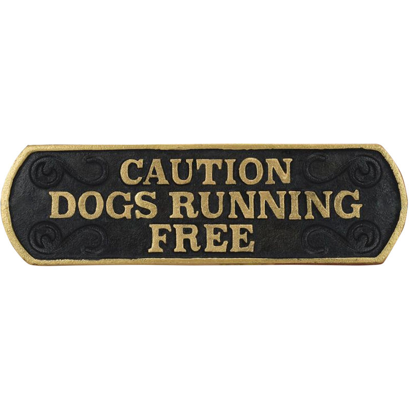 Image of Caution Dog Running Free Cast Iron Sign (24 x 7cm) (May Vary) - Best Pets