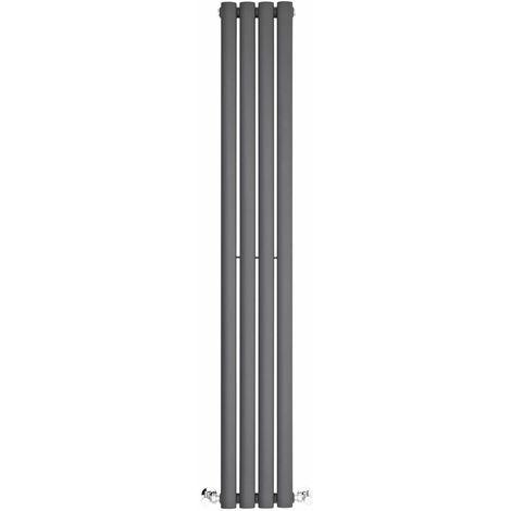 BestBathrooms Anthracite Oval Column Space Saving Vertical Designer Radiator - 1400 x 236 mm - Double Panel