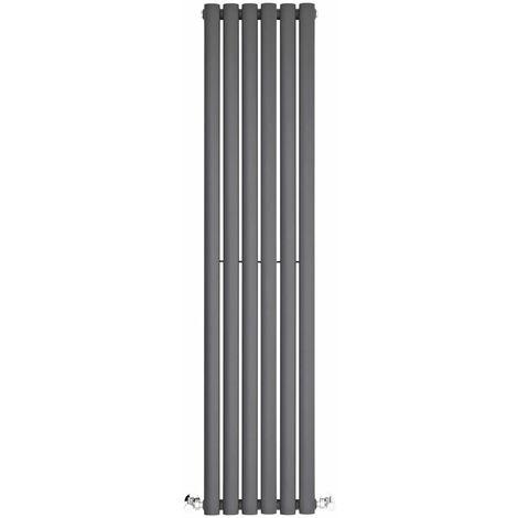 BestBathrooms Anthracite Oval Column Vertical Designer Radiator - 1400 x 354 mm - Single Panel