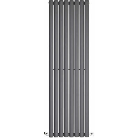 BestBathrooms Anthracite Oval Column Vertical Designer Radiator - 1400 x 472 mm - Double Panel