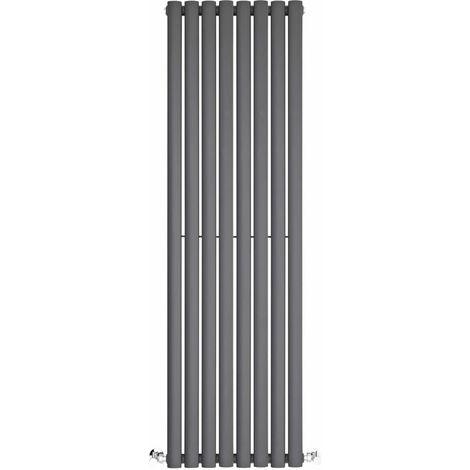 BestBathrooms Anthracite Oval Column Vertical Designer Radiator - 1400 x 472 mm - Single Panel