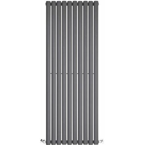 BestBathrooms Anthracite Oval Column Vertical Designer Radiator - 1400 x 590 mm - Double Panel
