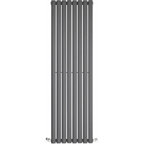 BestBathrooms Radiatore Termoarredo Doppio di Design Verticale Moderno - Termosifone con Finitura Antracite - Design a Colonna Ovale - 1392W - 1400 x 472 x 78mm