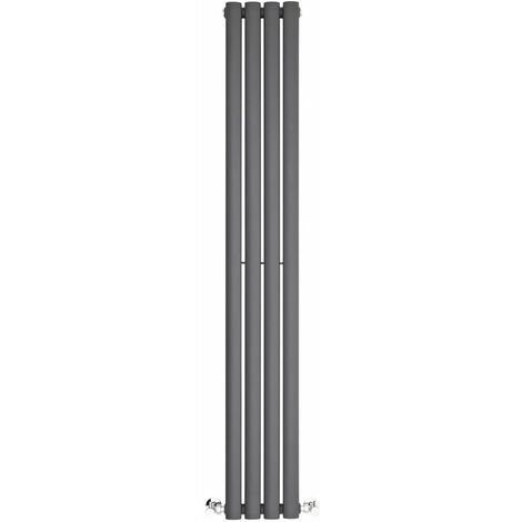 BestBathrooms Radiatore Termoarredo Doppio di Design Verticale Moderno - Termosifone con Finitura Antracite - Design a Colonna Ovale - 696W - 1400 x 236 x 78mm