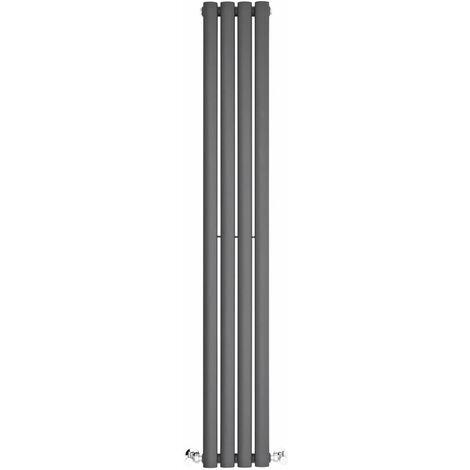BestBathrooms Radiatore Termoarredo Singolo di Design Verticale Moderno - Termosifone con Finitura Antracite - Design a Colonna Ovale - 457W - 1400 x 236 x 56mm