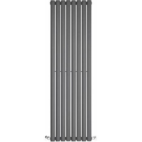 BestBathrooms Radiatore Termoarredo Singolo di Design Verticale Moderno - Termosifone con Finitura Antracite - Design a Colonna Ovale - 915W - 1400 x 472 x 56mm